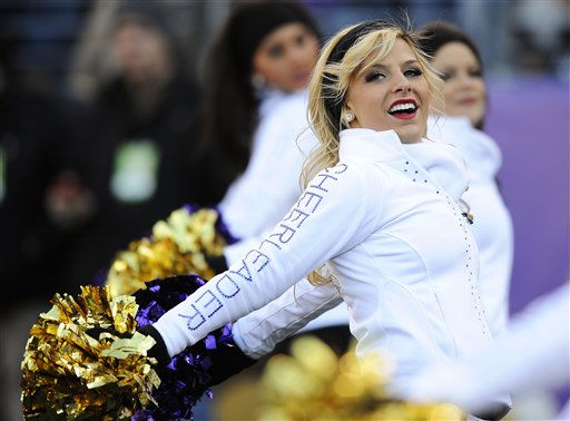 "<div class=""meta image-caption""><div class=""origin-logo origin-image ""><span></span></div><span class=""caption-text"">A Baltimore Ravens cheerleader performs during the second half of an NFL divisional playoff football game against the Houston Texans in Baltimore, Sunday, Jan. 15, 2012. (AP Photo/Nick Wass) (AP Photo/ Nick Wass)</span></div>"