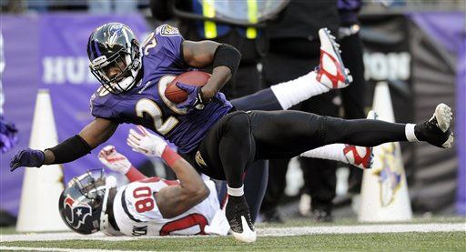Baltimore Ravens free safety Ed Reed hits the turf after intercepting a pass intended for Houston Texans wide receiver Andre Johnson during the second half of an NFL divisional playoff football game in Baltimore, Sunday, Jan. 15, 2012. The Ravens won the game 20-13. &#40;AP Photo&#47;Nick Wass&#41; <span class=meta>(AP Photo&#47; Nick Wass)</span>