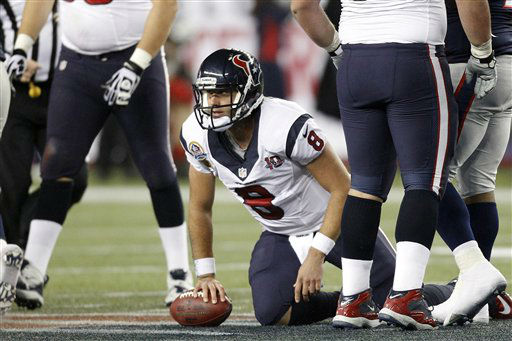 Houston Texans quarterback Matt Schaub &#40;8&#41; gets up after being sacked during the first quarter of an NFL football game against the New England Patriots in Foxborough, Mass., Monday, Dec. 10, 2012. &#40;AP Photo&#47;Stephan Savoia&#41; <span class=meta>(AP Photo&#47; Stephan Savoia)</span>