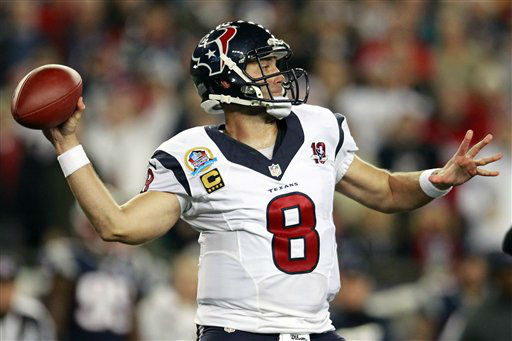 "<div class=""meta ""><span class=""caption-text "">Houston Texans quarterback Matt Schaub (8) looks to pass against the New England Patriots during the first quarter of an NFL football game in Foxborough, Mass., Monday, Dec. 10, 2012. (AP Photo/Steven Senne) (AP Photo/ Steven Senne)</span></div>"