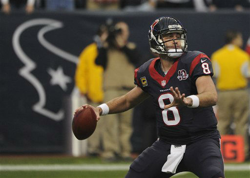"<div class=""meta ""><span class=""caption-text "">Houston Texans quarterback Matt Schaub (8) passes the ball against the Cincinnati Bengals during the first quarter of an NFL wild card playoff football game Saturday, Jan. 5, 2013, in Houston. (AP Photo/Dave Einsel) (AP Photo/ Dave Einsel)</span></div>"