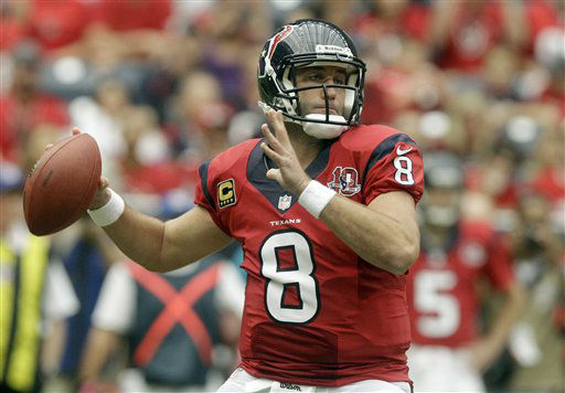 Houston Texans quarterback Matt Schaub &#40;8&#41; passes the ball against the Baltimore Ravens during the first quarter of an NFL football game Sunday, Oct. 21, 2012, in Houston. &#40;AP Photo&#47;Patric Schneider&#41; <span class=meta>(AP Photo&#47; Patric Schneider)</span>