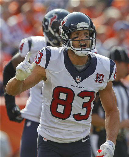 "<div class=""meta ""><span class=""caption-text "">Houston Texans wide receiver Kevin Walter (83) reacts after scoring a touchdown against the Denver Broncos in the second quarter of an NFL football game Sunday, Sept. 23, 2012, in Denver. (AP Photo/David Zalubowski) (AP Photo/ David Zalubowski)</span></div>"