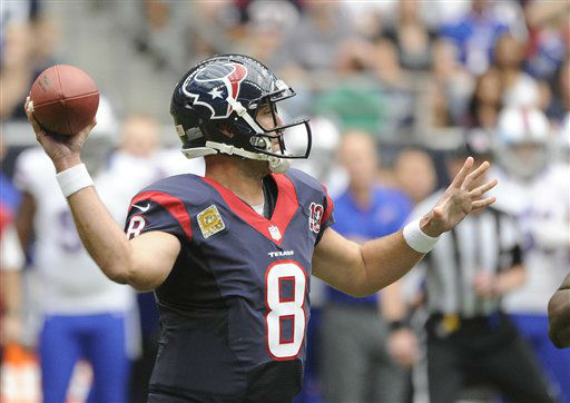 "<div class=""meta ""><span class=""caption-text "">Houston Texans quarterback Matt Schaub throws a pass against the Buffalo Bills in the first quarter of an NFL football game Sunday, Nov. 4, 2012, in Houston. (AP Photo/Dave Einsel) (AP Photo/ Dave Einsel)</span></div>"