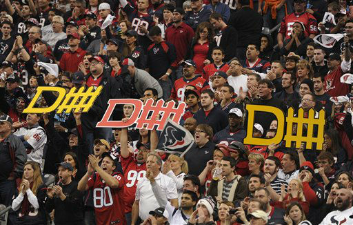 "<div class=""meta ""><span class=""caption-text "">Houston Texans fans cheer during the first quarter of an NFL wild card playoff football game against the Cincinnati Bengals Saturday, Jan. 5, 2013, in Houston. (AP Photo/Dave Einsel) (AP Photo/ Dave Einsel)</span></div>"