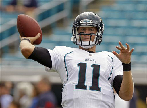 Jacksonville Jaguars quarterback Blaine Gabbert throws a pass during warm ups before an NFL football game against the Houston Texans,  Sunday, Sept. 16, 2012, in Jacksonville, Fla. &#40;AP Photo&#47;John Raoux&#41; <span class=meta>(AP Photo&#47; John Raoux)</span>
