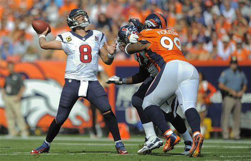 Houston Texans quarterback Matt Schaub &#40;8&#41; throws for a touchdown against the Denver Broncos in the second quarter of an NFL football game Sunday, Sept. 23, 2012, in Denver. &#40;AP Photo&#47;Jack Dempsey&#41; <span class=meta>(AP Photo&#47; Jack Dempsey)</span>