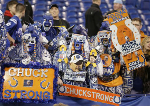 "<div class=""meta ""><span class=""caption-text "">Indianapolis Colts fans welcome head coach Chuck Pagano to the field before an NFL football game against the Houston Texans, Sunday, Dec. 30, 2012, in Indianapolis. Pagano is back as coach after nearly three months of treatments for leukemia. (AP Photo/Michael Conroy)</span></div>"