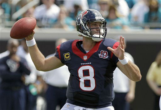 Houston Texans quarterback Matt Schaub throws a pass against the Jacksonville Jaguars during the first half an NFL football game, Sunday, Sept. 16, 2012, in Jacksonville, Fla. &#40;AP Photo&#47;John Raoux&#41; <span class=meta>(AP Photo&#47; John Raoux)</span>