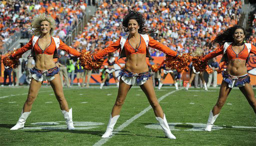 Denver Broncos cheerleaders perform during halftime of an NFL football game against the Houston Texans, Sunday, Sept. 23, 2012, in Denver. &#40;AP Photo&#47;Jack Dempsey&#41; <span class=meta>(AP Photo&#47; Jack Dempsey)</span>
