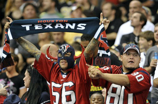 Houston Texans fans cheer in the first half of an NFL preseason football game against the Houston Texans in New Orleans, Saturday, Aug. 25, 2012. &#40;AP Photo&#47;Bill Haber&#41; <span class=meta>(AP Photo&#47; Bill Haber)</span>