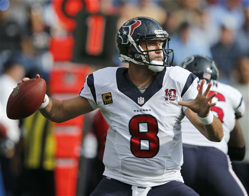 "<div class=""meta ""><span class=""caption-text "">Houston Texans quarterback Matt Schaub passes against the Tennessee Titans in the first quarter of an NFL football game on Sunday, Dec. 2, 2012, in Nashville, Tenn.  (AP Photo/ Joe Howell)</span></div>"