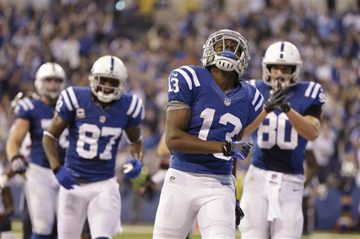 Indianapolis Colts&#39; T.Y. Hilton &#40;13&#41; reacts following a reception during the first half of an NFL football game against the Houston Texans Sunday, Dec. 30, 2012, in Indianapolis. &#40;AP Photo&#47;Michael Conroy&#41; <span class=meta>(AP Photo&#47; Michael Conroy)</span>