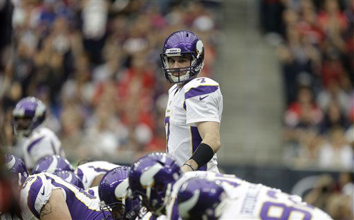 Minnesota Vikings quarterback Christian Ponder &#40;7&#41; callas a play against the Houston Texans during the first quarter of an NFL football game Sunday, Dec. 23, 2012, in Houston. &#40;AP Photo&#47;Patric Schneider&#41; <span class=meta>(AP Photo&#47; Patric Schneider)</span>