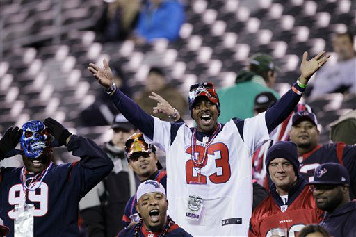 "<div class=""meta ""><span class=""caption-text "">Houston Texans fans cheer before an NFL football game between the New York Jets and the Texans Monday, Oct. 8, 2012, in East Rutherford, N.J. (AP Photo/Kathy Willens) (AP Photo/ Kathy Willens)</span></div>"