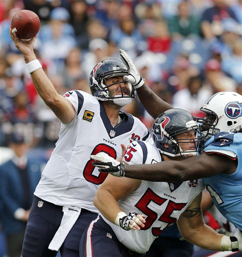 "<div class=""meta ""><span class=""caption-text "">Houston Texans quarterback Matt Schaub (8) gets a pass away as center Chris Myers (55) blocks Tennessee Titans defensive tackle Sen'Derrick Marks, right, in the first quarter of an NFL football game on Sunday, Dec. 2, 2012, in Nashville, Tenn. (AP Photo/Joe Howell) (AP Photo/ Joe Howell)</span></div>"