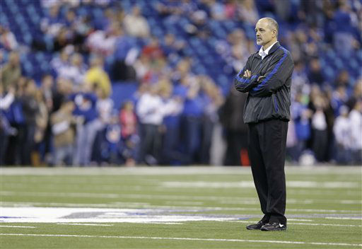 Indianapolis Colts head coach Chuck Pagano watches as the Colts prepare for an NFL football game against the Houston Texans Sunday, Dec. 30, 2012, in Indianapolis. (AP Photo/Michael Conroy)