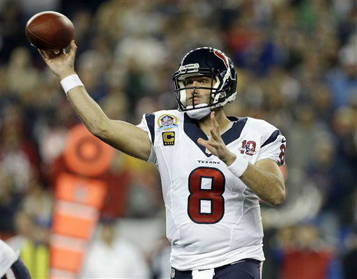 "<div class=""meta ""><span class=""caption-text "">Houston Texans quarterback Matt Schaub (8) passes against the New England Patriots during the first quarter of an NFL football game in Foxborough, Mass., Monday, Dec. 10, 2012. (AP Photo/Elise Amendola) (AP Photo/ Elise Amendola)</span></div>"