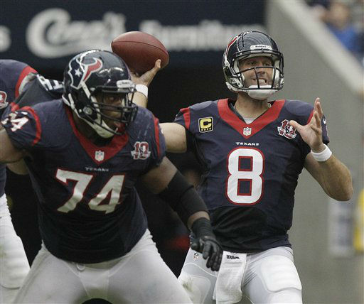 Houston Texans quarterback Matt Schaub &#40;8&#41; throws against the Tennessee Titans in the second quarter of an NFL football game Sunday, Sept. 30, 2012, in Houston. &#40;AP Photo&#47;Patric Schneider&#41; <span class=meta>(AP Photo&#47; Patric Schneider)</span>