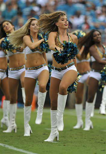 "<div class=""meta ""><span class=""caption-text "">Jacksonville Jaguars cheerleaders perform during the first half an NFL football game against the Houston Texans, Sunday, Sept. 16, 2012, in Jacksonville, Fla. (AP Photo/Stephen Morton) (AP Photo/ Stephen Morton)</span></div>"