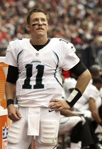 Jacksonville Jaguars quarterback Blaine Gabbert watches the game from the sidelines after being hurt during the first quarter of an NFL football game against the Houston Texans Sunday, Nov. 18, 2012, in Houston.   <span class=meta>(AP Photo&#47; Patric Schneider)</span>