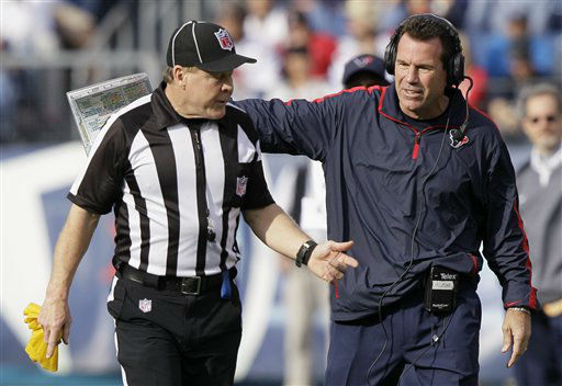 "<div class=""meta ""><span class=""caption-text "">Houston Texans head coach Gary Kubiak, right, talks with an official in the second quarter of an NFL football game against the Tennessee Titans on Sunday, Dec. 2, 2012, in Nashville, Tenn. (AP Photo/Wade Payne) (AP Photo/ Wade Payne)</span></div>"