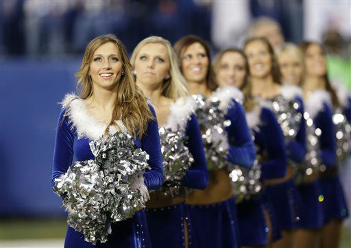 "<div class=""meta ""><span class=""caption-text "">The Indianapolis Colts cheerleaders during the second half of an NFL football game against the Houston Texans Sunday, Dec. 30, 2012, in Indianapolis. (AP Photo/Michael Conroy) (AP Photo/ Michael Conroy)</span></div>"