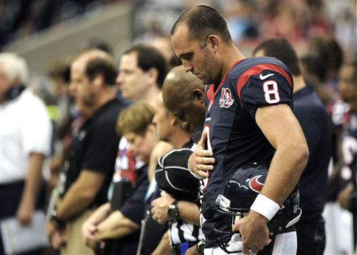 Houston Texans quarterback Matt Schaub &#40;8&#41; bows his head during a moment of silence for the victims of the Sandy Hook Elementary School shootings before an NFL football game Sunday, Dec. 16, 2012, in Houston. &#40;AP Photo&#47;Dave Einsel&#41; <span class=meta>(AP Photo&#47; Dave Einsel)</span>