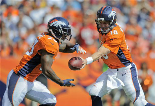 Denver Broncos quarterback Peyton Manning &#40;18&#41; hands the ball off to running back Willis McGahee &#40;23&#41; in the first quarter of an NFL football game against the Houston Texans Sunday, Sept. 23, 2012, in Denver. &#40;AP Photo&#47;Jack Dempsey&#41; <span class=meta>(AP Photo&#47; Jack Dempsey)</span>
