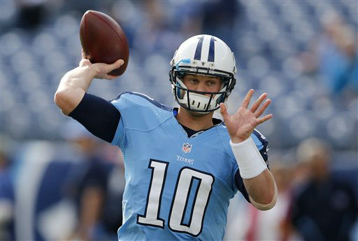 "<div class=""meta ""><span class=""caption-text "">Tennessee Titans quarterback Jake Locker warms up before an NFL football game between the Titans and the Houston Texans on Sunday, Dec. 2, 2012, in Nashville, Tenn. (AP Photo/Joe Howell) (AP Photo/ Joe Howell)</span></div>"