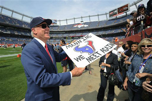 Houston Texans owner Bob McNair talks with fans before an NFl football game against the Denver Broncos Sunday, Sept. 23, 2012, in Denver. &#40;AP Photo&#47;Jack Dempsey&#41; <span class=meta>(AP Photo&#47; Jack Dempsey)</span>