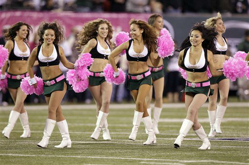 New York Jets cheerleaders perform before an NFL football game against the Houston Texans Monday, Oct. 8, 2012, in East Rutherford, N.J. &#40;AP Photo&#47;Kathy Willens&#41; <span class=meta>(AP Photo&#47; Kathy Willens)</span>