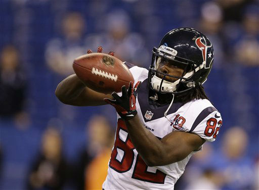 Houston Texans' Keshawn Martin (82) makes a catch before an NFL football game against the Indianapolis Colts Sunday, Dec. 30, 2012, in Indianapolis. (AP Photo/Michael Conroy)