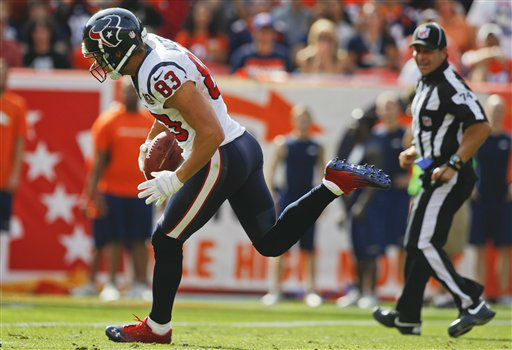 Houston Texans wide receiver Kevin Walter &#40;83&#41; comes down with a pass for a touchdown against the Denver Broncos in the second quarter of an NFL football game Sunday, Sept. 23, 2012, in Denver. &#40;AP Photo&#47;David Zalubowski&#41; <span class=meta>(AP Photo&#47; David Zalubowski)</span>