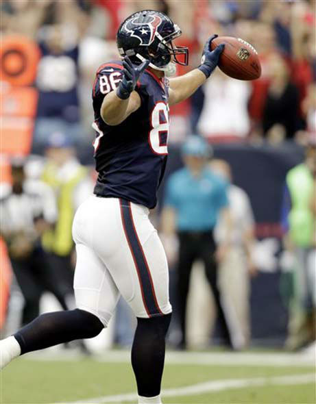 "<div class=""meta ""><span class=""caption-text "">Houston Texans' James Casey celebrates scoring a touchdown Tennessee Titans in the first quarter of an NFL football game Sunday, Sept. 30, 2012, in Houston. (AP Photo/Eric Gay) (Photo/Pat Sullivan)</span></div>"