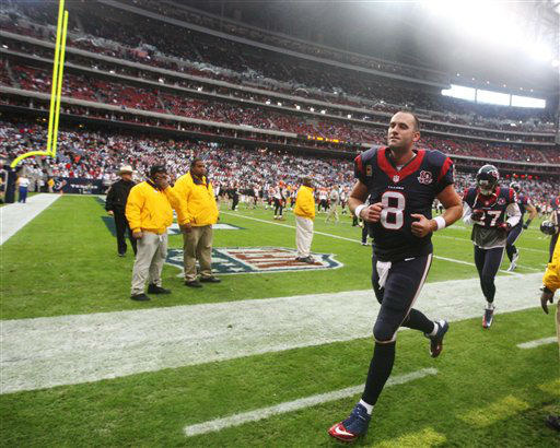 "<div class=""meta ""><span class=""caption-text "">Houston Texans quarterback Matt Schaub (8) leaves the field before an NFL wild card playoff football game against the Cincinnati Bengals Saturday, Jan. 5, 2013, in Houston. (AP Photo/Patric Schneider)</span></div>"