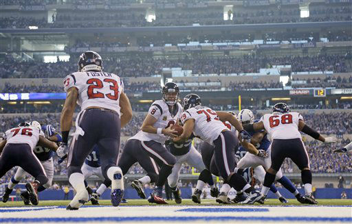 "<div class=""meta ""><span class=""caption-text "">Houston Texans' Matt Schaub (8) hands off to Arian Foster (23) during the first half of an NFL football game against the Indianapolis Colts Sunday, Dec. 30, 2012, in Indianapolis. (AP Photo/AJ Mast) (AP Photo/ AJ Mast)</span></div>"