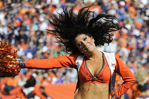 A Denver Broncos cheerleader performs during halftime of an NFL football game against the Houston Texans, Sunday, Sept. 23, 2012, in Denver. &#40;AP Photo&#47;Jack Dempsey&#41; <span class=meta>(AP Photo&#47; Jack Dempsey)</span>