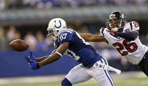 Indianapolis Colts&#39; Reggie Wayne &#40;87&#41; reaches for a pass while being defended by Houston Texans&#39; Brandon Harris &#40;26&#41; during the first half of an NFL football game, Sunday, Dec. 30, 2012, in Indianapolis. The pass was incomplete. &#40;AP Photo&#47;Michael Conroy&#41; <span class=meta>(AP Photo&#47; Michael Conroy)</span>