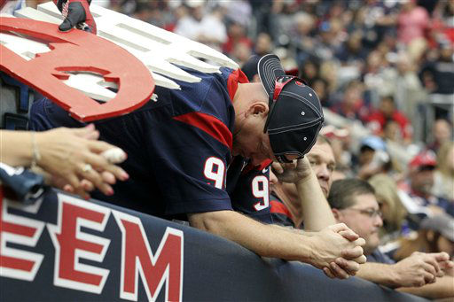 "<div class=""meta ""><span class=""caption-text "">A Houston Texans fan hangs his head during the fourth quarter of an NFL football game against the Jacksonville Jaguars, Sunday, Nov. 18, 2012, in Houston.   (AP Photo/ Patric Schneider)</span></div>"