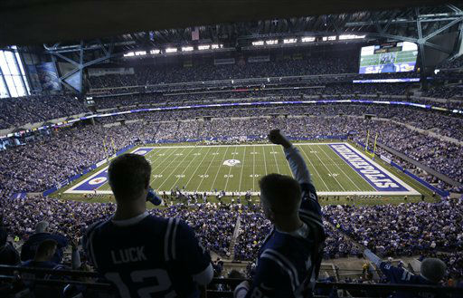 Fans cheer as the Indianapolis Colts play the Houston Texans during the second half of an NFL football game Sunday, Dec. 30, 2012, in Indianapolis. &#40;AP Photo&#47;AJ Mast&#41; <span class=meta>(AP Photo&#47; AJ Mast)</span>