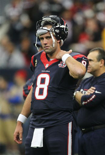 Houston Texans quarterback Matt Schaub (8) stands on the sideline before an NFL wild card playoff football game against the Cincinnati Bengals Saturday, Jan. 5, 2013, in Houston. (AP Photo/Patric Schneider)