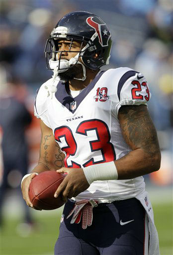 Houston Texans running back Arian Foster warms up before an NFL football game between the Tennessee Titans and the Houston Texans on Sunday, Dec. 2, 2012, in Nashville, Tenn. &#40;AP Photo&#47;Wade Payne&#41; <span class=meta>(AP Photo&#47; Wade Payne)</span>