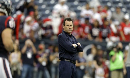 "<div class=""meta ""><span class=""caption-text "">Houston Texans coach Gary Kubiak watches his team before an NFL football game against the Minnesota Vikings Sunday, Dec. 23, 2012, in Houston. (AP Photo/Patric Schneider) (AP Photo/ Patric Schneider)</span></div>"