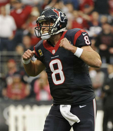 Houston Texans quarterback Matt Schaub &#40;8&#41; reacts to throwing an interception to Cincinnati Bengals&#39; Leon Hall during the second quarter of an NFL wild card playoff football game Saturday, Jan. 5, 2013, in Houston. Left is Cincinnati Bengals defensive tackle Geno Atkins. &#40;AP Photo&#47;Dave Einsel&#41; <span class=meta>(AP Photo&#47; Dave Einsel)</span>