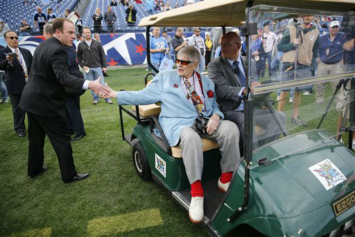 Tennessee Titans owner Bud Adams, center, greets people on the sideline before an NFL football game between the Titans and the Houston Texans on Sunday, Dec. 2, 2012, in Nashville, Tenn. &#40;AP Photo&#47;Joe Howell&#41; <span class=meta>(AP Photo&#47; Joe Howell)</span>
