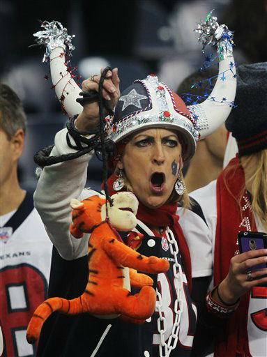 A Houston Texans' fan holds up a stuffed tiger on a noose before an NFL wild card playoff football game against the Cincinnati Bengals Saturday, Jan. 5, 2013, in Houston. (AP Photo/Patric Schneider)