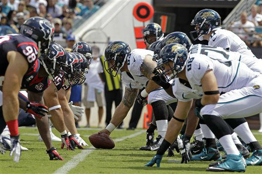 The Houston Texans, left, line up against the Jacksonville Jaguars for a play during the first half an NFL football game, Sunday, Sept. 16, 2012, in Jacksonville, Fla. &#40;AP Photo&#47;John Raoux&#41; <span class=meta>(AP Photo&#47; John Raoux)</span>
