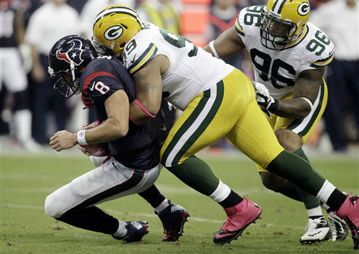 "<div class=""meta ""><span class=""caption-text "">Houston Texans' quarterback Matt Schaub (8) is sacked by Green Bay Packers defensive end Jerel Worthy (99) in the first quarter of an NFL football game Sunday, Oct. 14, 2012 in Houston. (AP Photo/Patric Schneider) (AP Photo/ Patric Schneider)</span></div>"