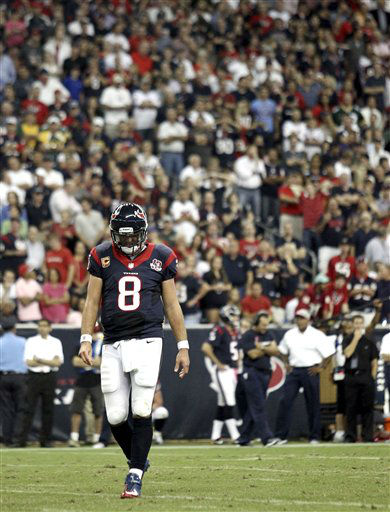 Houston Texans quarterback Matt Schaub &#40;8&#41; walks off the field in the third quarter of an NFL football game against the Green Bay Packers, Sunday, Oct. 14, 2012, in Houston. &#40;AP Photo&#47;Patric Schneider&#41; <span class=meta>(AP Photo&#47; Patric Schneider)</span>